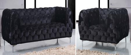 Meridian Mercer 646BLSC Living Room Set Black, 2 PC Set