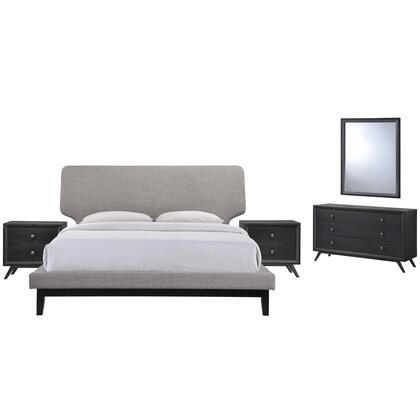 Modway Bethany MOD5337BLKGRYSET Bedroom Set Grey, MOD 5337 BLK GRY SET 1