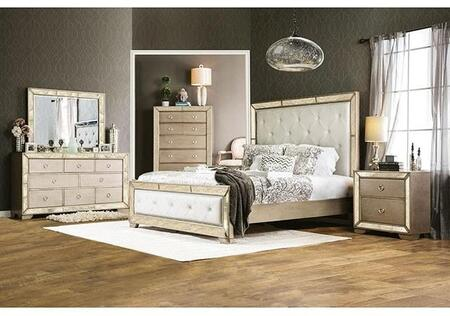 Furniture of America Loraine CM7195KBDMCN Bedroom Set Silver, Main Image