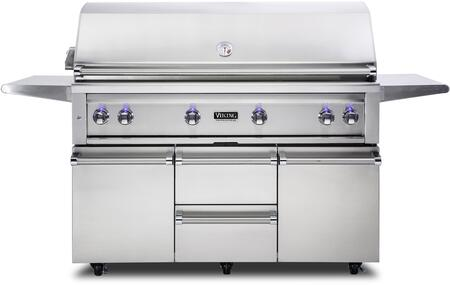 VQGFS5541NSS 54″ Freestanding Natural Gas Grill and Cart with ProSear Burner and Rotisserie  in Stainless