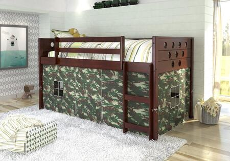 780A-TCP-750C-TC 79″ Low Loft with Camo Colored Tent  Built in Ladder  Circle Cut Out Design Headboard and Footboard in Dark