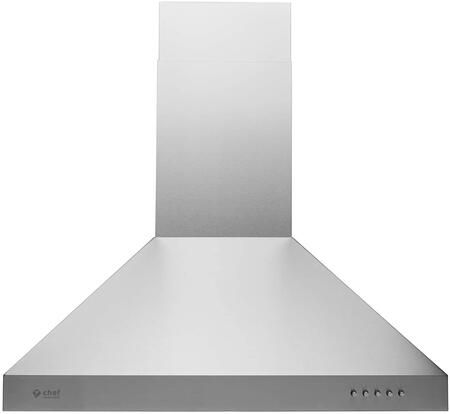 WM-530SS-36P 36″ European Chef Series WM-530 Wall Mount Range Hood with 750 CFM  LED Lighting and Baffle Filters in Stainless