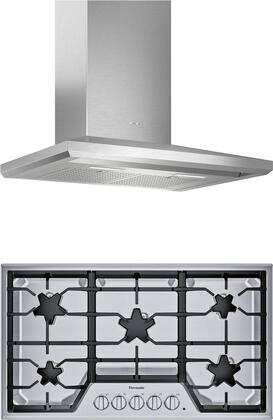 2 Piece Kitchen Appliances Package with SGSX365TS 36″ Gas Cooktop and HMCB36WS 36″ Wall Mount Convertible Hood in Stainless