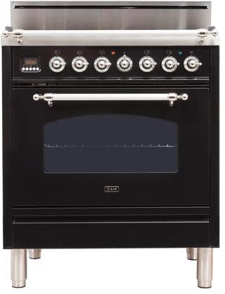 Ilve Nostalgie UPN76DVGGNX Freestanding Gas Range Black, UPN76DVGGNX Front View