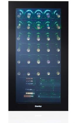 DWC036A2BDB-6 18″ Black Wine Cooler with 36 Bottle Capacity  Blue LED Lights and Black Wire