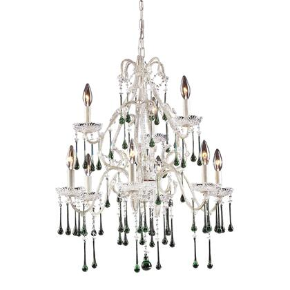 4003/6+3LM Opulence 9-Light Chandelier in Antique White with Lime
