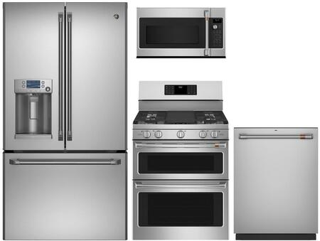 4 Piece Kitchen Appliances Package with CFE28TSHSS 36″ French Door Refrigerator  CGB550P2MS1 30″ Gas Range  CVM517P2MS1 30″ Over the Range Microwave