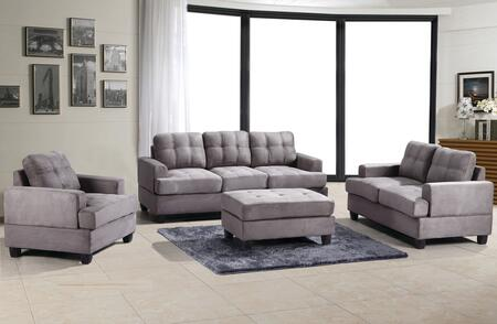 Glory Furniture G513ASET Living Room Set Gray, 3 PC Set