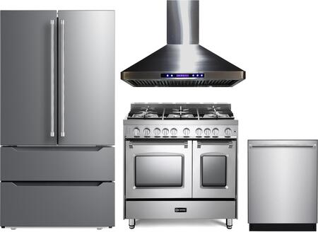 4 Piece Kitchen Appliances Package with VERF36CDSS 36″ French Door Refrigerator  VPFSGG365DSS 36″ Gas Range  VEHOOD36CH 36″ Wall Mount Range Hood and