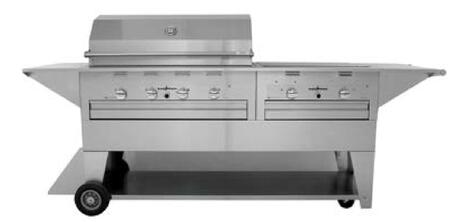 """LM210-40/30MP 96"""""""" Masterpiece Series Liquid Propane Mobile Freestanding Grill with 72 000 BTU  4 Durite Stainless Steel Burners  2 Side Burners and 115 Volt"""" 953837"""