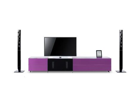 VIG Furniture  VGWCSMARTBASESMALL Entertainment Center , K151C pink  paint glass
