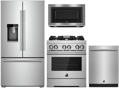 4 Piece RISE Series Kitchen Appliances Package with JFFCC72EHL 36″ French Door Refrigerator  JDRP430HL 30″ Dual Fuel Gas Range   JMV8208CS 30″ Over