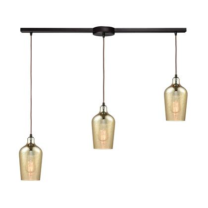 10840/3L Hammered Glass 3 Light Linear Bar Fixture in Oil Rubbed Bronze with Hammered Amber Plated