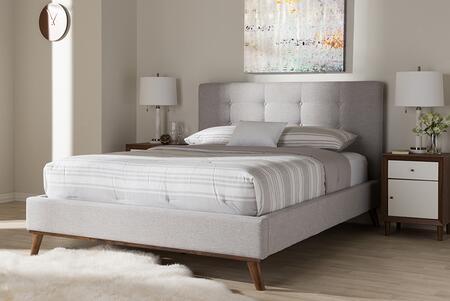 Baxton Studio Valencia BBT6662GREYISHBEIGEQUEEN Bed Gray, 7832 7834 7836 8
