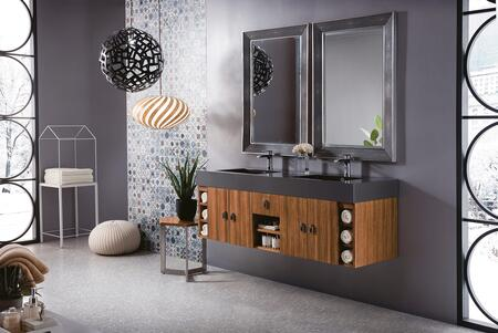 Tiburon Collection 868-V59D-NZB-G-DGG 59″ Double Vanity  Natural Zebrano Wood  Radiant Gold with Glossy Dark Gray Solid Surface