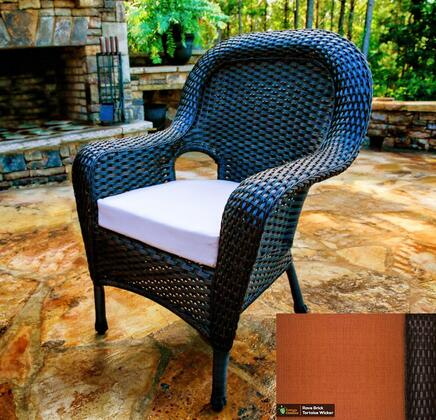 Sea Pines Collection LEX-DC-T-RAVEB Dining Chair in Tortoise Wicker and Rave Brick Fabric