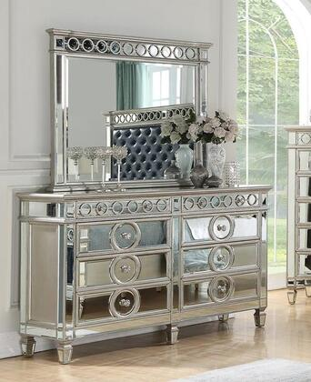 Brooklyn Collection BROOKLYN DRESMIR 8-Drawer Dresser with Mirror Icluded  Decorative Pull Knobs and Tapered Legs in