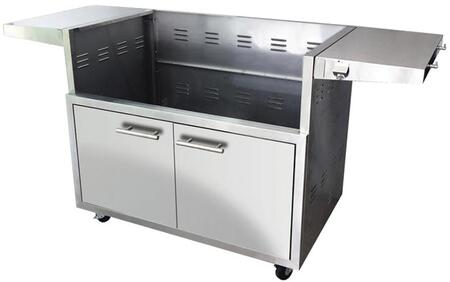 XOG42CART 42″ Grill Cart with 304 Stainless Steel Construction  Folding Side Shelves  Heavy Duty Casters and Soft Close Doors in Stainless