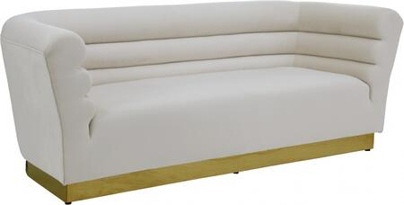 Bellini 669CREAM-S 89″ Sofa with Piped Stitching  Gold Stainless Steel Base and Velvet Upholstery in