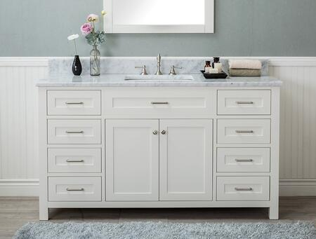 Alya Bath Norwalk HE10160SWCWMT Sink Vanity White, HE-101-60S-W-CWMT front