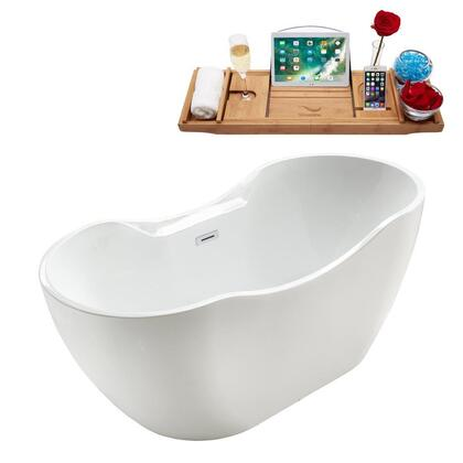 M-2301-59FSWH-DM 59″ Soaking Freestanding Tub and Tray With Internal Drain in White