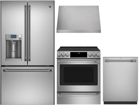 4 Piece Kitchen Appliances Package with CFE28TSHSS 36″ French Door Refrigerator  CES700P2MS1 30″ Slide-in Electric Range  CVW93012MSS 30″ Wall Mount