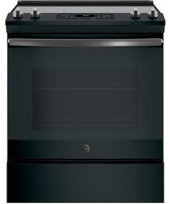GE  JS645FLDS Slide-In Electric Range Black Slate, Main View