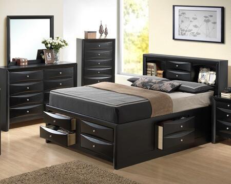Glory Furniture G1500G G1500GQSB3DM Bedroom Set Black, Main Image