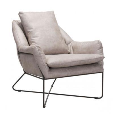 Zuo Finn 101003 Lounge Chair Gray, 101003 Front