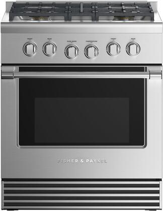 Fisher Paykel Professional RGV2304NN Freestanding Gas Range Stainless Steel, Front view