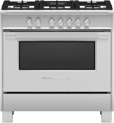 Fisher Paykel Classic OR36SCG4X1 Freestanding Gas Range Stainless Steel, Front view