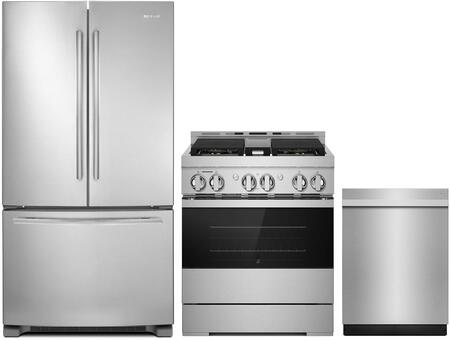 "3 Piece Kitchen Appliances Package with JFC2089BEM 36"" French Door Refrigerator JGRP430HM 30"" Smart Gas Range and JDTSS246GM 24"" Smart Built In"