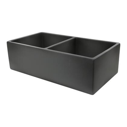 FCFS3318D-CONCRETE Vineyard Collection Sink with Rectangular Shape  Double Bowlsand Undermount Installation  in