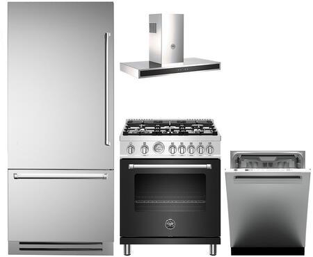 4 Piece Kitchen Appliances Package with REF36PIXL 36″ Bottom Freezer Refrigerator  MAST305GASNEE 30″ Gas Range (Matte Black)  KG30CONX 30″ Wall Mount