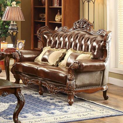 Furniture of America Jericho CM6786LVPK Loveseat Brown, Main Image