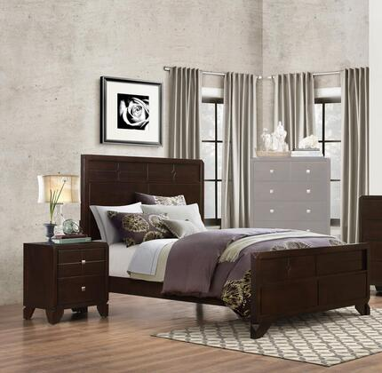 Phoenix Collection PH28QN 2-Piece Bedroom Set with Queen Bed and Nightstand in Cherry