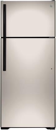 GE  GIE18GCNRSA Top Freezer Refrigerator Silver, GIE18GCNRSA Front View