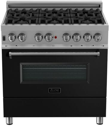 RAS-BLM-36 36″ Black Matte Professional Natural Gas Dual Fuel Range with 6 Italian Burners  4.6 cu. ft. Capacity Oven  Cast Iron Grates and Dual
