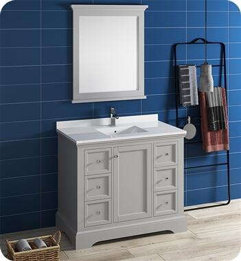 Windsor Collection FVN2440GRV 40″ Grey Textured Traditional Bathroom Vanity with