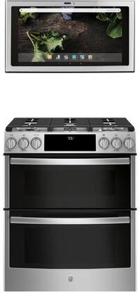 2 Piece Kitchen Appliances Package with PGS960SELSS 30″ Slide-in Gas Range and UVH13012MSS 30″ Under Cabinet Ducted Hood in Stainless