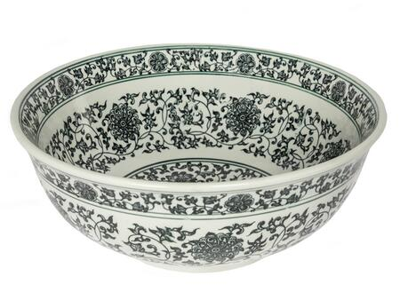 EB_PS06 17″ Ming Dynasty Above Counter Vessel Sink with Flower Pattern  Round Shape  One Year Limited Warranty and Porcelain  Material in Black