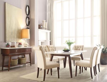 Acme Furniture Gasha 728208SET Dining Room Set White, 8 PC Set