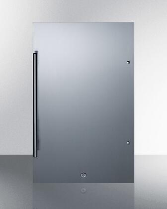Summit FF195 19 Compact Refrigerator with 3.13 cu. ft. Capacity  Energy Star  Automatic Defrost  Reversible Door  Factory Installed Lock  in Stainless