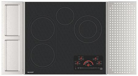 """SCR2442FB 24"""" Drop-In Radiant Cooktop with Side Accessories 4 Elements Digital Glass Touch Controls Hot Surface Indicator Lights Control Lock"""