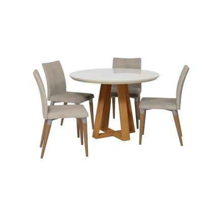 Duffy and Charles Collection 2-10185511011453 5 PC Dining Set with Contemporary Modern Style  Medium-Density Fiberboard (MDF) Frame  Pine Wood Feet