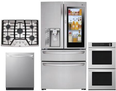 4 Piece Kitchen Appliances Package with LMXC23796S 36″ French Door Refrigerator  LWD3063ST 30″ Electric Double Wall Oven  LCG3611ST 36″ Gas Cooktop