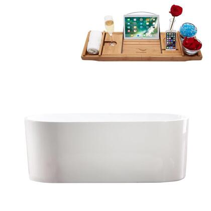 M-2000-67FSWH-FM 67″ Soaking Freestanding Tub and tray With Internal Drain in