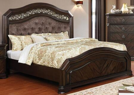 Furniture of America Calliope CM7752CKBED Bed Brown, CM7752CK-BED Main Image