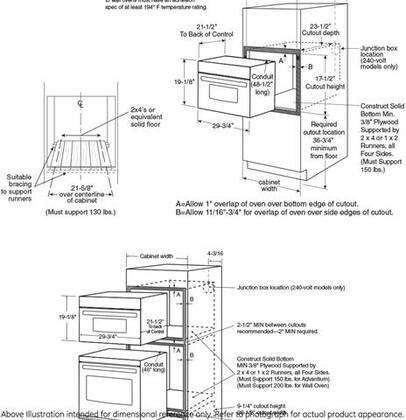 GE Profile  PSB9240 Single Wall Oven , Dimentions