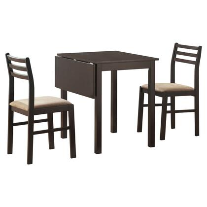 332604 3 Piece Dining Set with Extendable Table  Foam Filled Cushion  Medium-Density Fiberboard (MDF)  Beige Polyseter Blend Seat Upholstery and